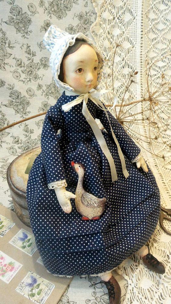 кукла, авторская кукла, заказать куклу, купить куклу, кукла ручной работы, кукла своими руками, винтажный стиль, горошек, платье в горошек, чепчик, капор, гусь, гусик, гуся, боннет
