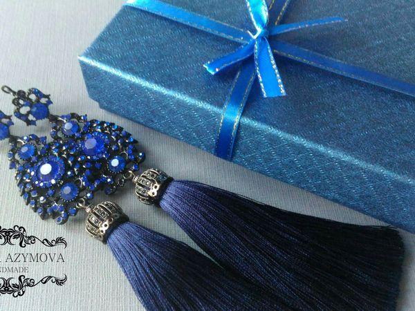 Видео № 6, сережки в синем цвете в вечернем стиле )))   Ярмарка Мастеров - ручная работа, handmade