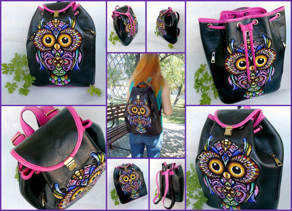 рюкзак, купить рюкзак, сова, вышитый рюкзак, рюкзак с вышивкой, черный рюкзак, купить рюкзак вышитый, рюкзак с совой, подарок для женщины, подарок для девушки