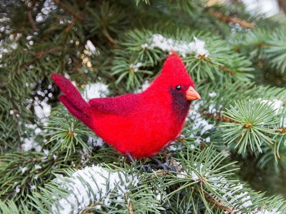 сухое валяние игрушки, птица кардинал, рождество