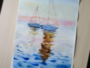 Видео мастер-класс: рисуем акварелью картину «Лодки на закате». Ярмарка Мастеров - ручная работа, handmade.