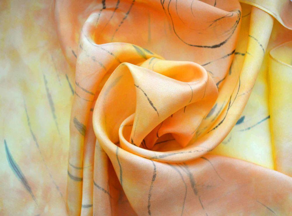 платок, шелковый платок батик