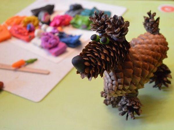 Идеи для детских поделок из шишек к году собачки | Ярмарка Мастеров - ручная работа, handmade