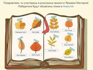 Осенний квест от Ярмарки мастеров. Собери гербарий. Ярмарка Мастеров - ручная работа, handmade.