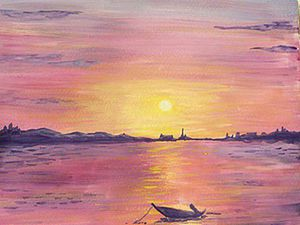 How to Paint a Sea Sunset with Gouache. Livemaster - handmade