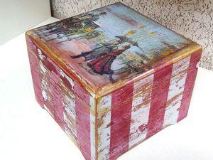 «Милая Вещица». Полосатая шкатулка с многослойным старением | Ярмарка Мастеров - ручная работа, handmade