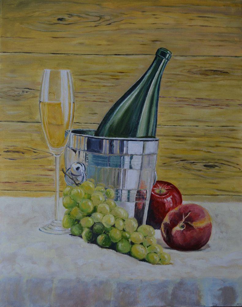 анна кшановская-орлова, масляная живопись, картину, вино, вино и фрукты, фруктовый натюрморт, картина в столовую, персик, шампанское, 8 марта