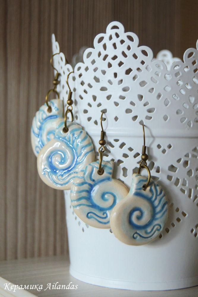 серьги, керамика, ракушки серьги ракушки, ракушки, голубой, вода