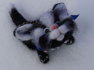 Мастер-класс по валянию милого черно-белого котенка | Ярмарка Мастеров - ручная работа, handmade