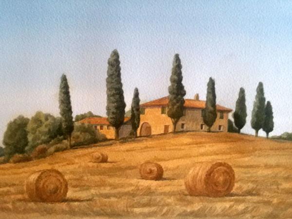 Мастер-класс: пишем акварелью Тоскану | Ярмарка Мастеров - ручная работа, handmade