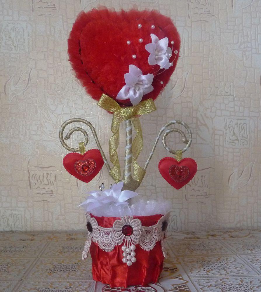 топиарий, сердце, романтичный подарок, подарок девушке, красный