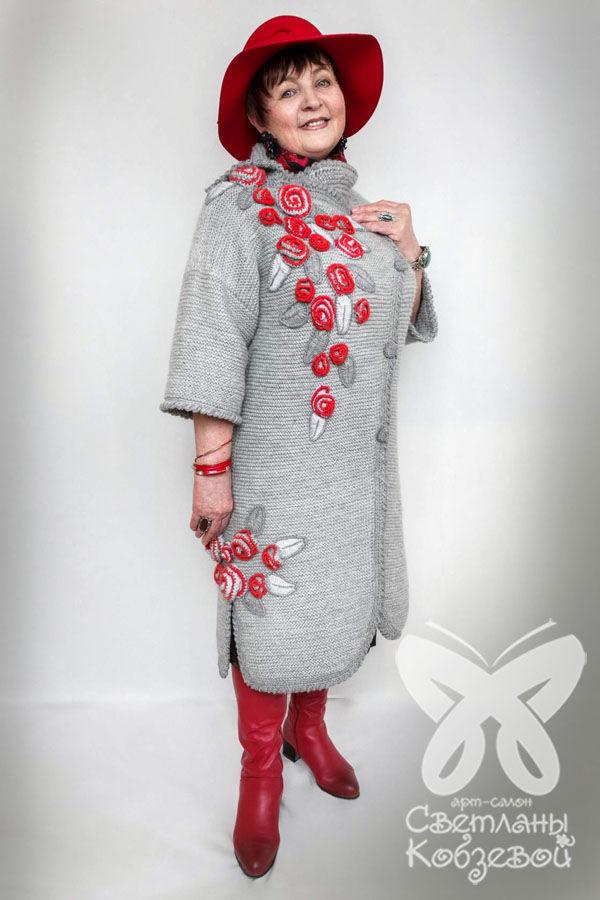 пальто вязаное, вязание на заказ, серый, весна