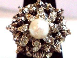 "АУКЦИОН: Антикварное кольцо, жемчуг, стразы ""диаманте"", Франция, 1930е. Ярмарка Мастеров - ручная работа, handmade."