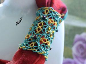 Плетем зажим для шарфа в технике фриволите. Ярмарка Мастеров - ручная работа, handmade.