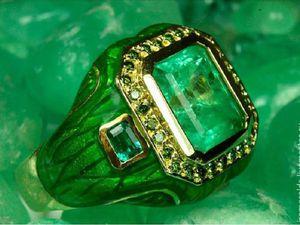 Шикарное!! Мужское кольцо с изумрудом и зелеными бриллиантами!!   Ярмарка Мастеров - ручная работа, handmade