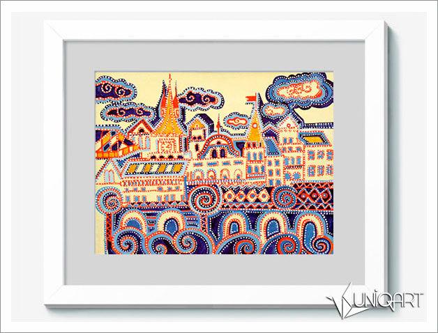 пейзаж, городской пейзаж, темпера, картина в детскую, разноцветный