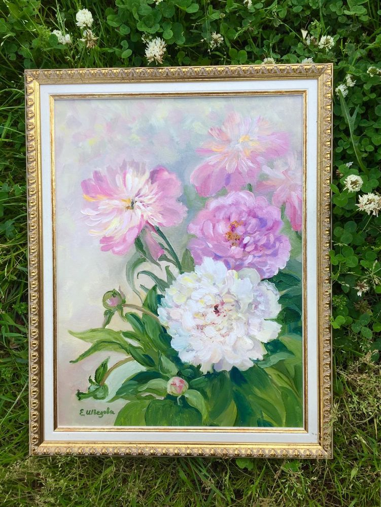 картина маслом, дорогая рама, пионы, картина для интерьера, живопись в радость