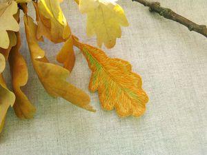 Вышивка листочков гладью