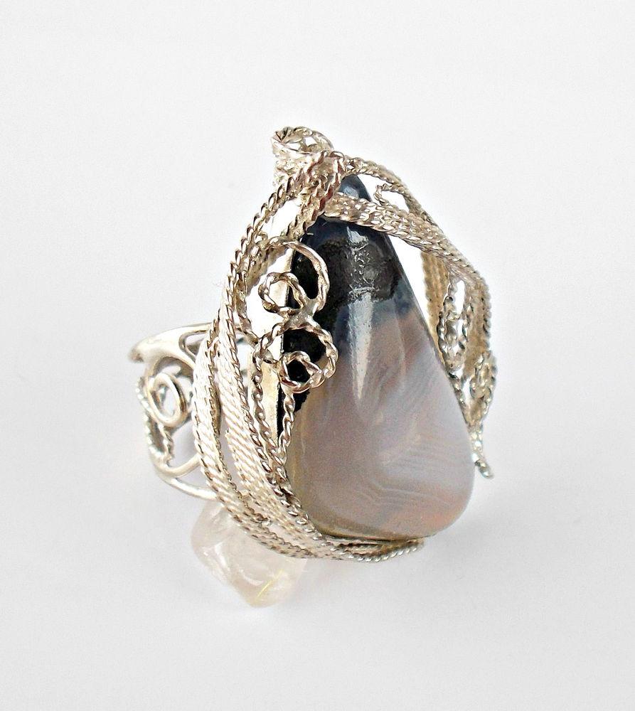 кольцо с агатом, белый агат, украшение филигрань