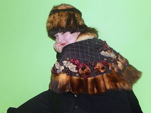Пелерина и сумка с фермуаром с мехом фретки. Ярмарка Мастеров - ручная работа, handmade.