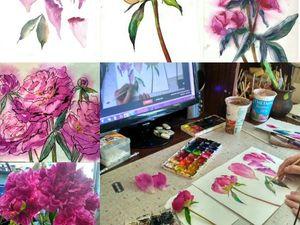 Рисуем пионы с натуры в декоративной и ботанической технике   Ярмарка Мастеров - ручная работа, handmade