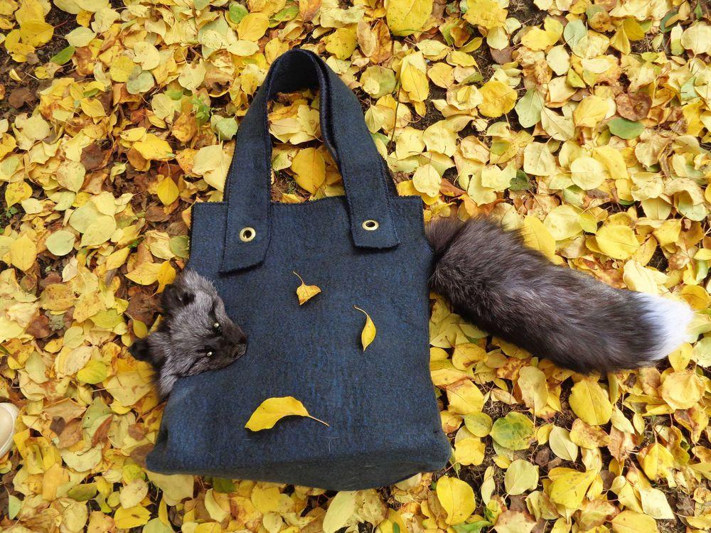 большая сумка, зимняя сумка, сумка с мехом, валяная сумка, акция дня