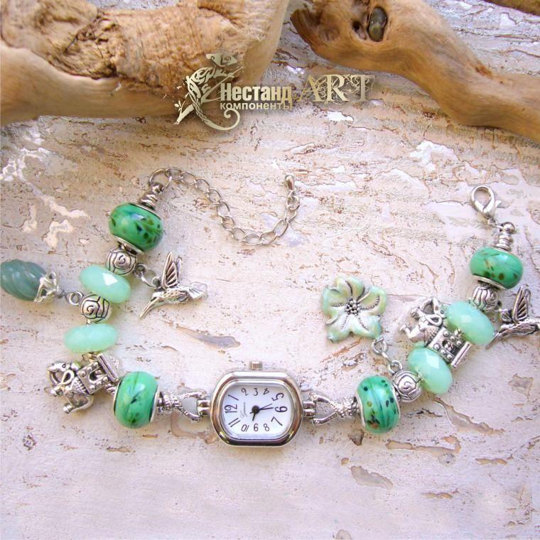 bracelet clock, semi-precious stones