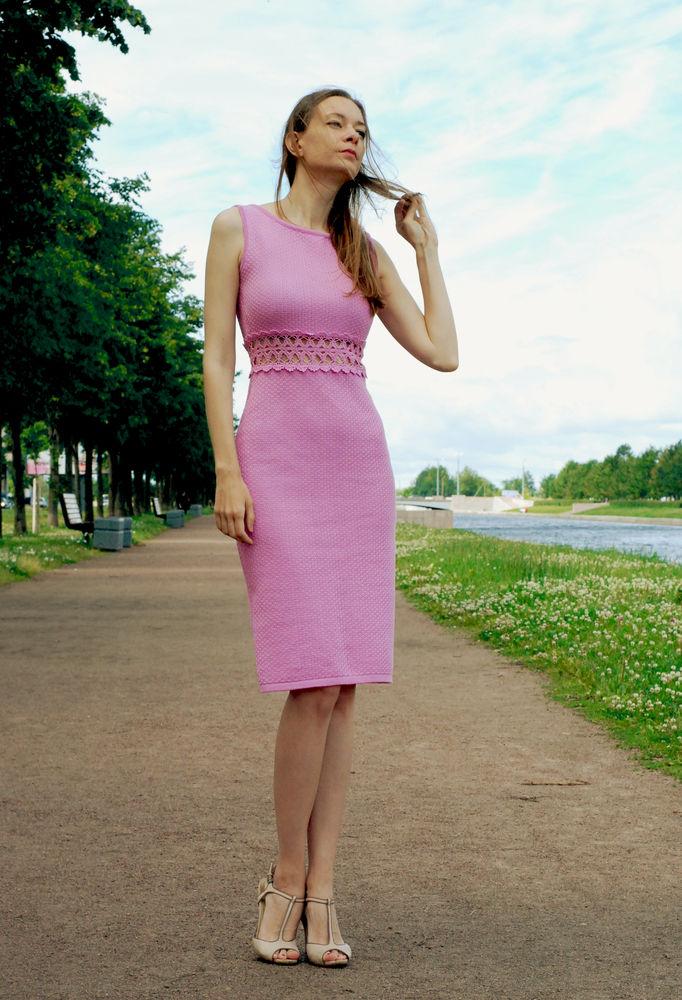 вязаное платье, розовое платье, летнее платье, хлопковое платье, новинка магазина, ручное кружево, платье с кружевом, пастельные оттенки