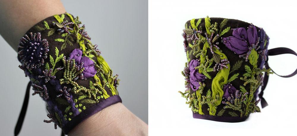 браслет с вышивкой, авторская вышивка