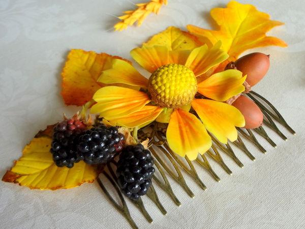Создаем осенний гребень с цветами и плодами из полимерной глины   Ярмарка Мастеров - ручная работа, handmade