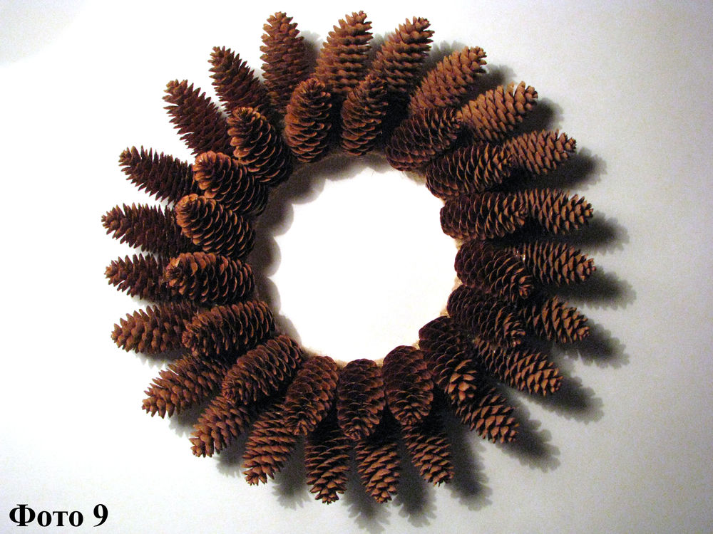 Мастерим Рождественский венок из еловых шишек, фото № 10