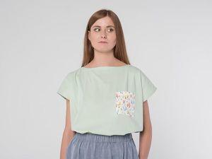 Блуза оверсайз YOKU из мятного поплина с контрастным карманом. Ярмарка Мастеров - ручная работа, handmade.