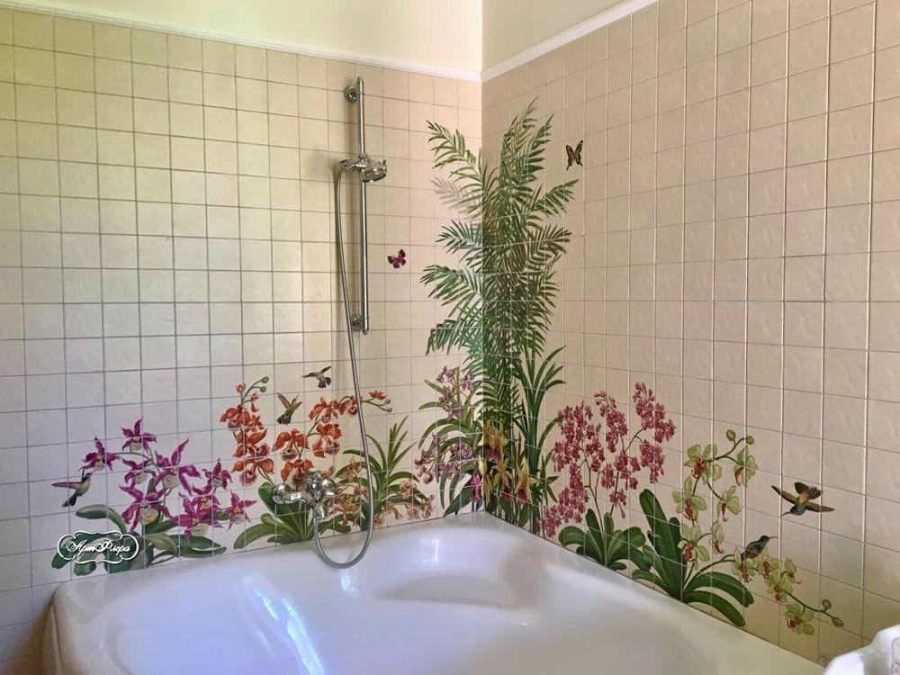 Роспись плитки в ванной