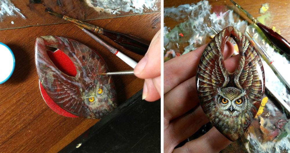 птицы, лаковая миниатюра, яшма, процесс