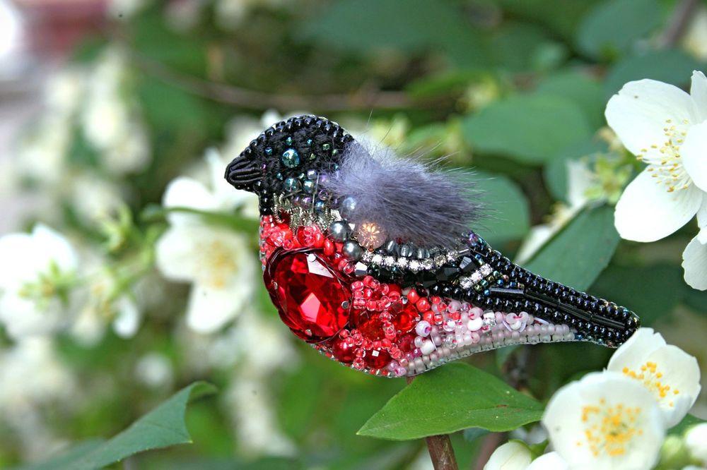 брошь птица, натуральный мех, вышитая птичка, мех