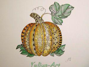 Рисуем тыкву в стиле зентангл и дудлинг | Ярмарка Мастеров - ручная работа, handmade
