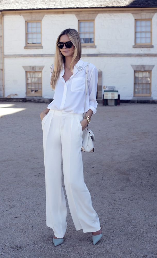 белые брюки, fashion look