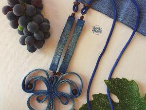 кулон из джинсовой ткани Бабочка. Ярмарка Мастеров - ручная работа, handmade.