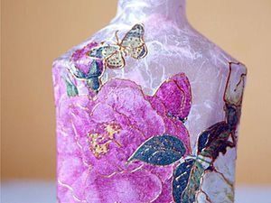 DIY Project: Decoupage of a Bottle with Rice Paper in the Style of Shabby-Chic. Livemaster - handmade