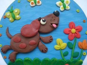 Делаем вместе с детьми панно с собачкой из пластилина. Ярмарка Мастеров - ручная работа, handmade.