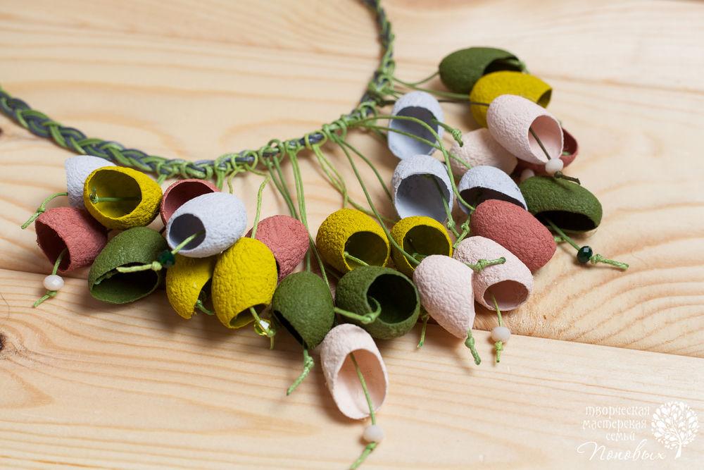 колье из коконов, шелковые коконы, украшение ручной работы