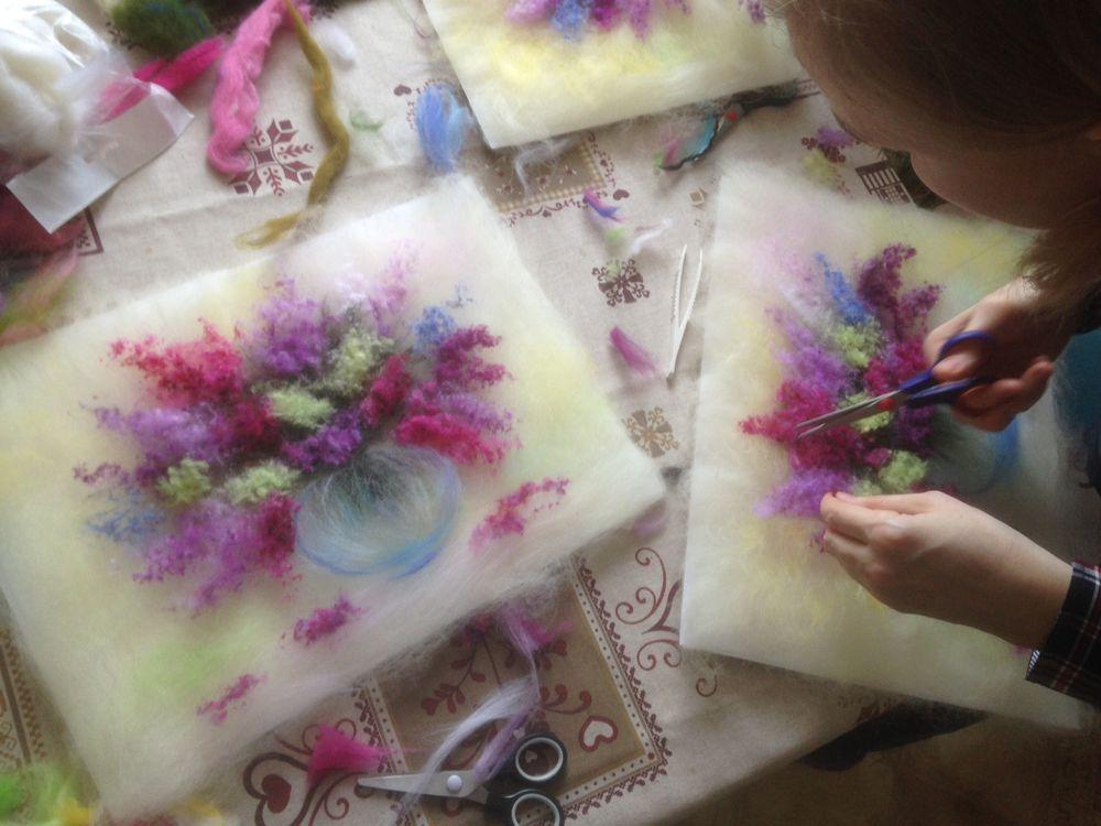 шерстяная акварель, рисуем шерстью, рисуем шерстью цветы