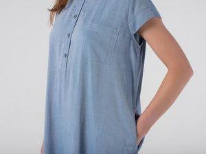 Платье-рубашка YOKU из вискозного шамбре цвета светлый деним. Ярмарка Мастеров - ручная работа, handmade.