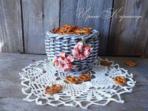 Мастер-класс по плетению корзинки из бумажной лозы   Ярмарка Мастеров - ручная работа, handmade