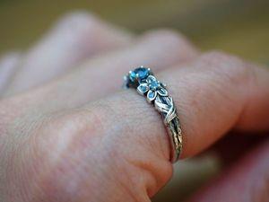 Кольцо Фиалки с топазами, серебро 925 пробы с чернением. Ярмарка Мастеров - ручная работа, handmade.