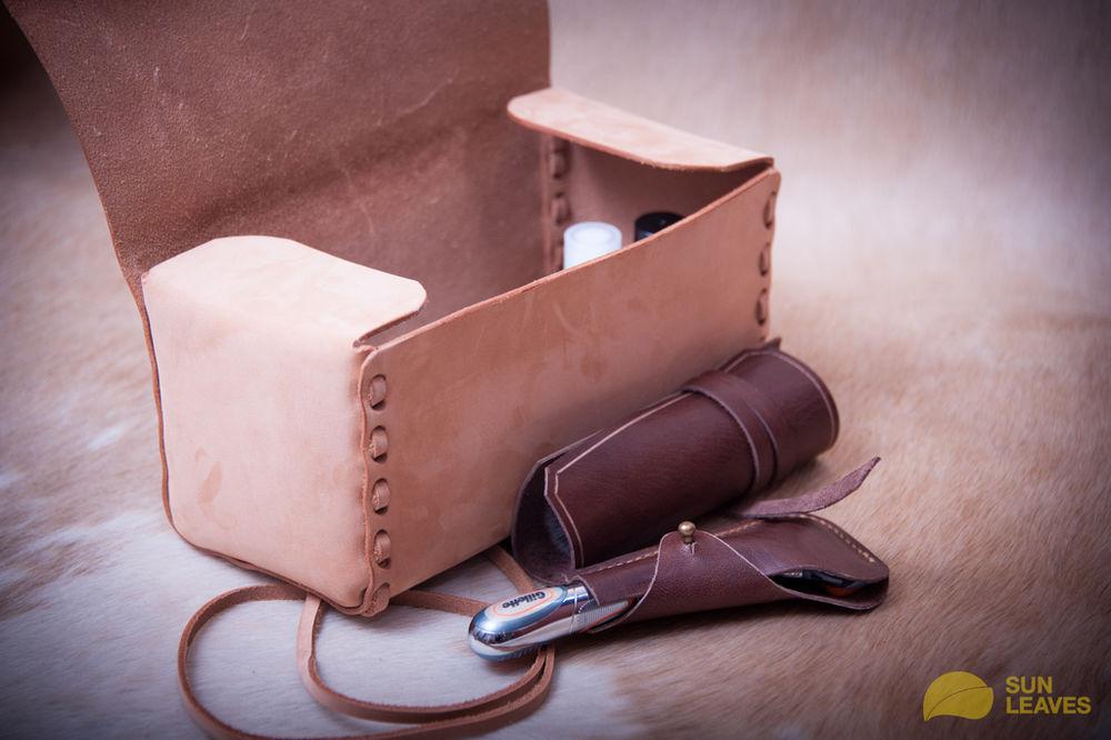 сумочка из кожи, набор для путешествия