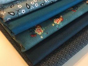 Набор тканей в оттенках синего   Ярмарка Мастеров - ручная работа, handmade