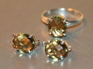 Кольцо Серьги-цитрин-серебро 925%