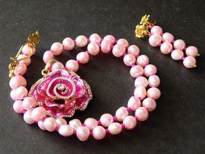 """Комплект жемчужный """"Розы"""". Ярмарка Мастеров - ручная работа, handmade."""