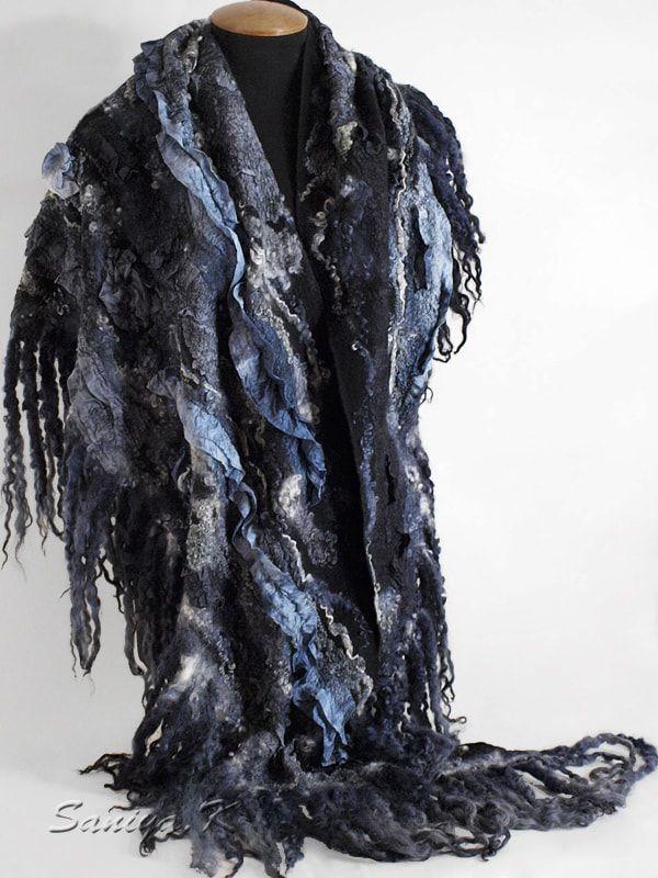 шаль черно серая